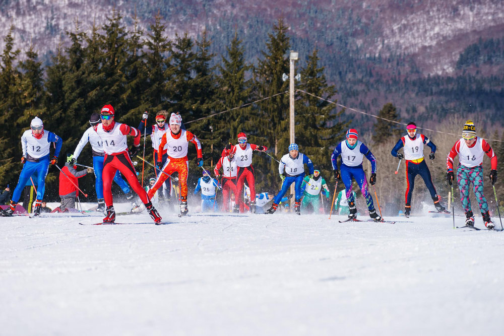 Cadets compete in the mass start race during the Cadet National Biathlon Championship on March 3, 2017 in Valcartier, Quebec.