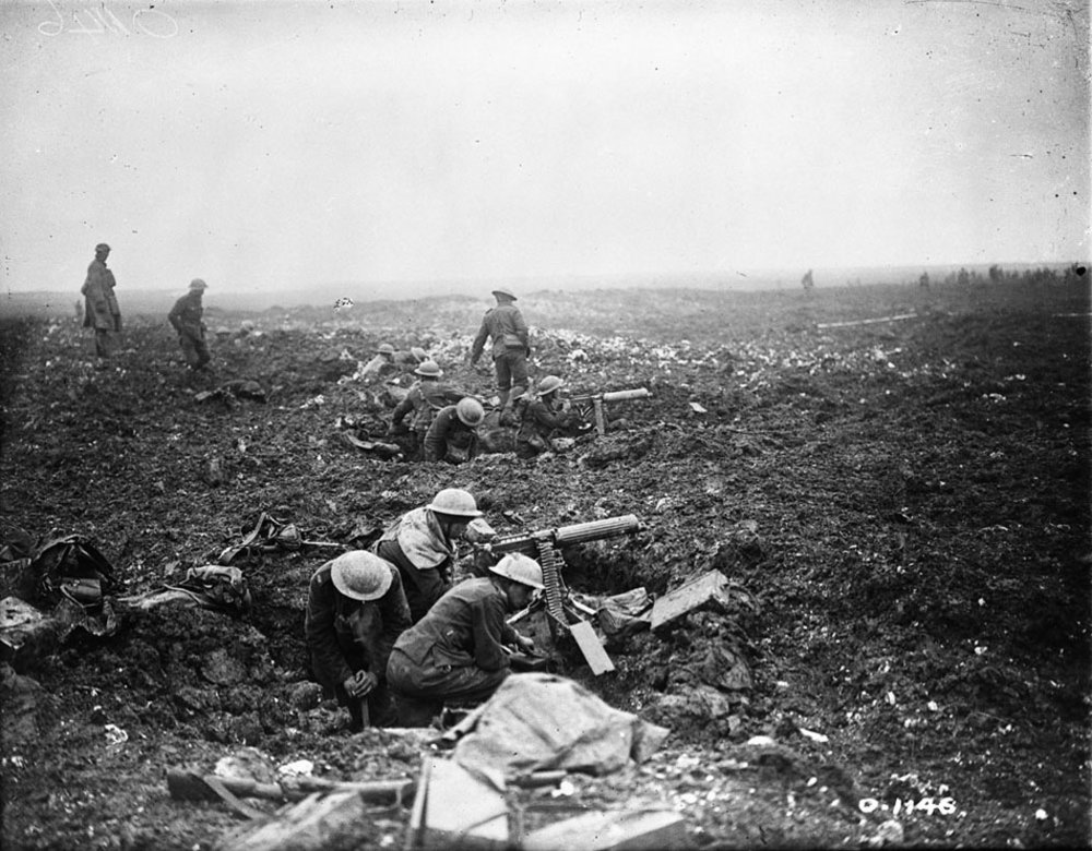 German battle doctrine called for immediate and powerful counterattacks when a position was lost. Canadian machine gunners use shell holes as gun pits for their water-cooled Vickers Mk 1 machine guns as they prepare to hold and consolidate atop Vimy Ridge. At 28 kilograms (62 pounds), it required a crew of 6 men to carry the gun, its tripod and the water for its cooling jacket, and a further 16 for the ammunition. (dnd, library and archives canada, mikan   3241489  )