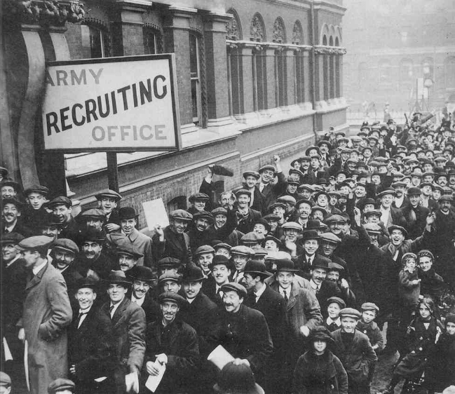 After war was declared on Germany in August 1914, thousands of men lined up at recruiting offices all over Britain. In the first two months of the war, almost half a million men had volunteered to serve for their King and country. In the early days, many saw the war as a heroic venture, believing that the men would be home by Christmas.