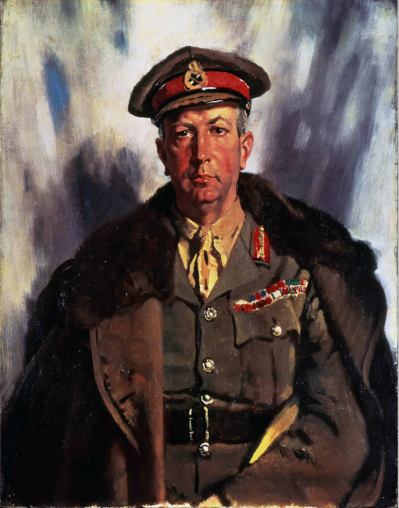 "Sir Arthur Currie, who commanded the Canadian Corps from June 1917 to 1919, is widely regarded as one of the war's finest generals. Forty-three years of age when he sat for this painting in 1919, Currie later wrote that he intensely disliked it. ""Lieutenant General Sir Arthur Currie, Knight Grand Cross of the Most Distinguished Order of St. Michael and St. George, Knight Commander of the Most Honourable Order of the Bath"" painted by Sir William Orpen. (beaverbrook collection of war art, cwm   19710261-0539  )"