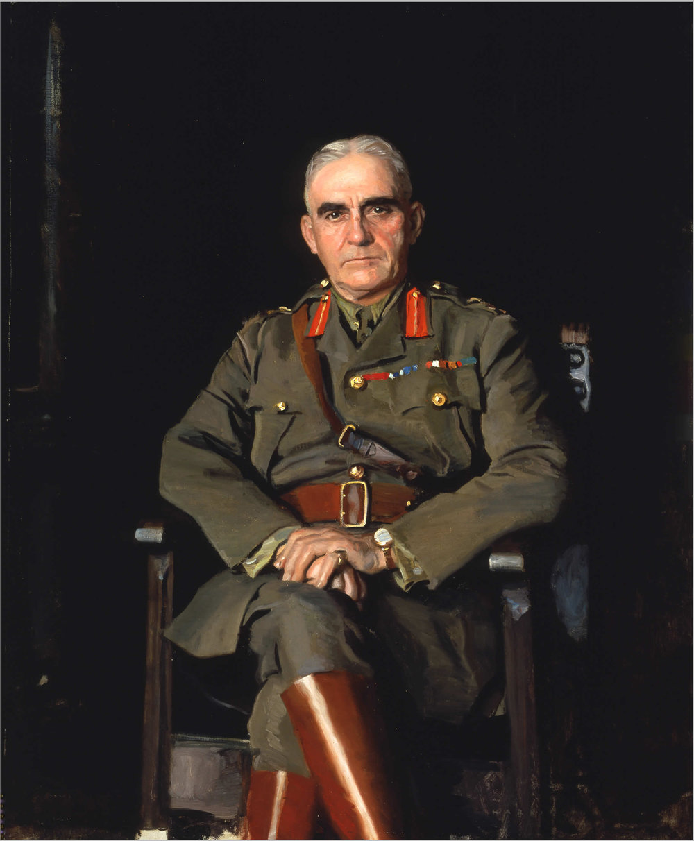 A portrait of Sir Sam Hughes, Minister of Militia and Defence from 1911 to 1916. Both he and his son, Garnet, sought revenge after the war by attacking Currie's reputation through editorials. Currie eventually fought back by going to court, winning a high-profile libel case in 1928. (painting by harrington mann, beaverbrook collection of war art, cwm   19710261-0394  )
