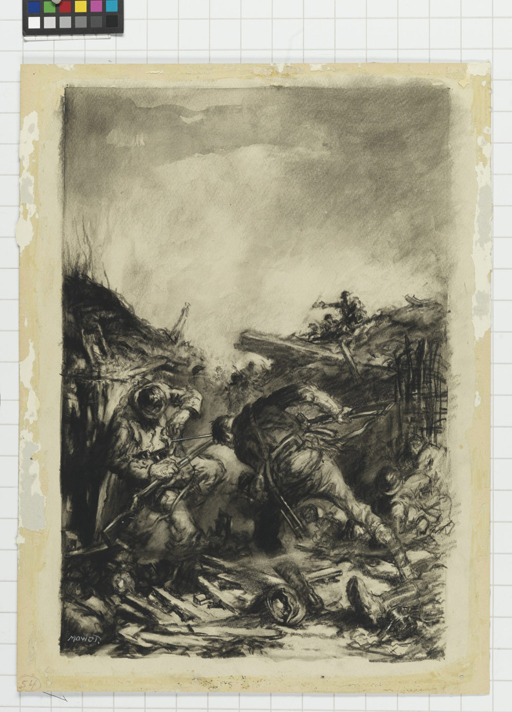 "When Thomas Dinesen made it across no man's land with bayonet fixed, he jumped into successive German trenches to silent enemy machine guns with his steel blade and Mills bombs. The limited confines of hand-to-hand trench warfare did not impede Dinesen's attack, who often had to press home with his bayonet. His actions of August 12, 1918 at Parvillers, near Amiens, earned him the Victoria Cross. (""trench fight"" by h.j. mowat, canadian war museum,   19710261-0434  )"