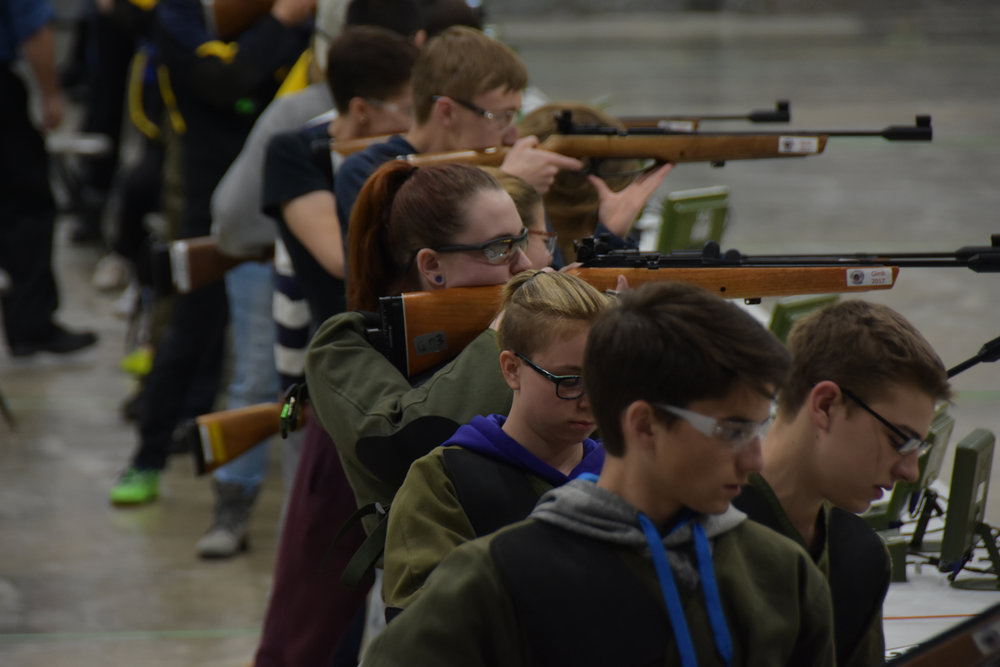 Standing marksmanship is the more challenging discipline at the championship and cadets are focused on their form while they zero their rifles prior to their competition.