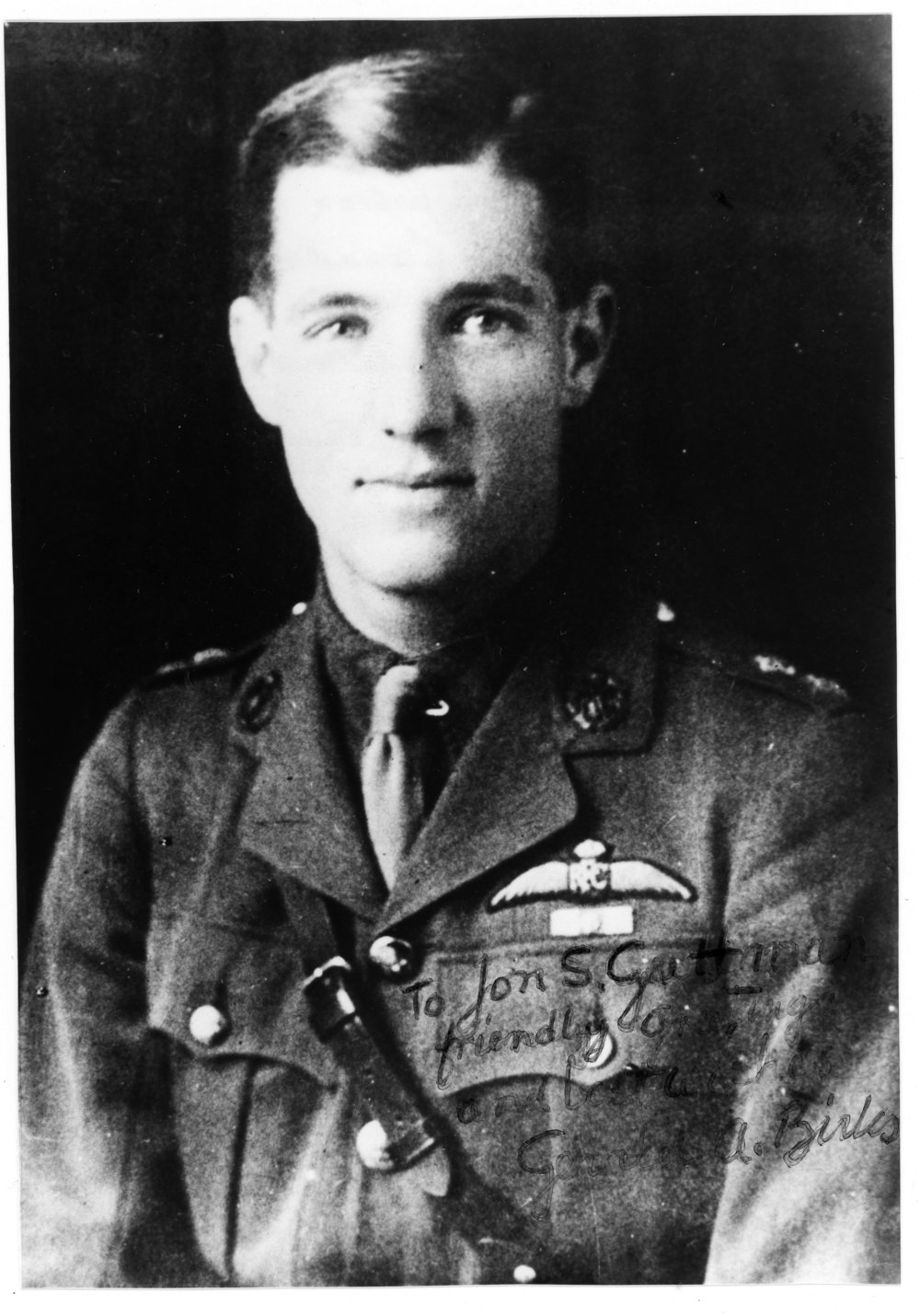 Second Lieutenant Gerald Alfred Birks, shortly after obtaining his flight certification in the Royal Flying Corps. The son of Canadian jeweller Henry Birks, Gerald would master the Sopwith Camel in short order. But aerial dogfights were not Birks' first brush with danger. Having enlisted with the Black Watch's 73rd Battalion in Montreal on August 31, 1915, he would be wounded at the Battle of the Somme on July 1, 1916. (gerald birks via jon guttman)