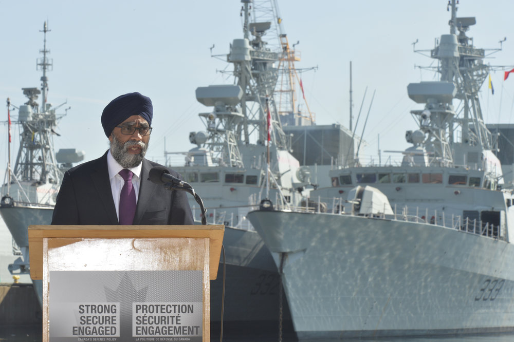 "Minister of National Defence Harjit Sajjan visited HMCS Scotian — which celebrated its 70th year of service to the RCN and the Halifax region this past April — on June 12, 2017 to talk about the government's new ""Defence Policy: Strong, Secure, Engaged."" Sajjan was adamant that this new policy would fully fund ""the Royal Canadian Navy's full complement of 15 Canadian Surface Combatant ships necessary to replace the existing frigates and retired destroyers."" (leading seaman dan bard, dnd)"