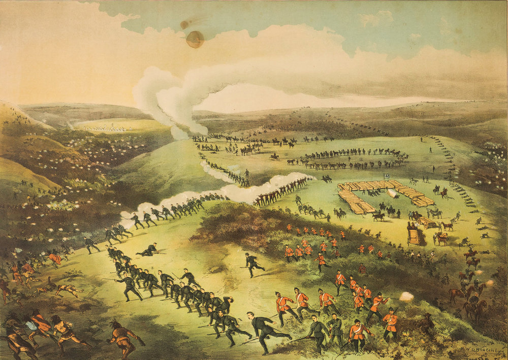 Although W.D. Blatchly's illustration — based on the battlefield sketches of Fred Curzon — shows Canadian forces, with the 2nd Battalion, Queen's Own Rifles in the foreground, sweeping all before them at Cut Knife Hill on May 2, 1885, the battle's ultimate outcome was not so triumphant. Fearing a repeat of Custer's Last Stand, Col William Otter, who had used his wagons to form a U-shaped cover from Cree chief Poundmaker, ordered his men to retreat from their exposed position. (canadian military heritage)