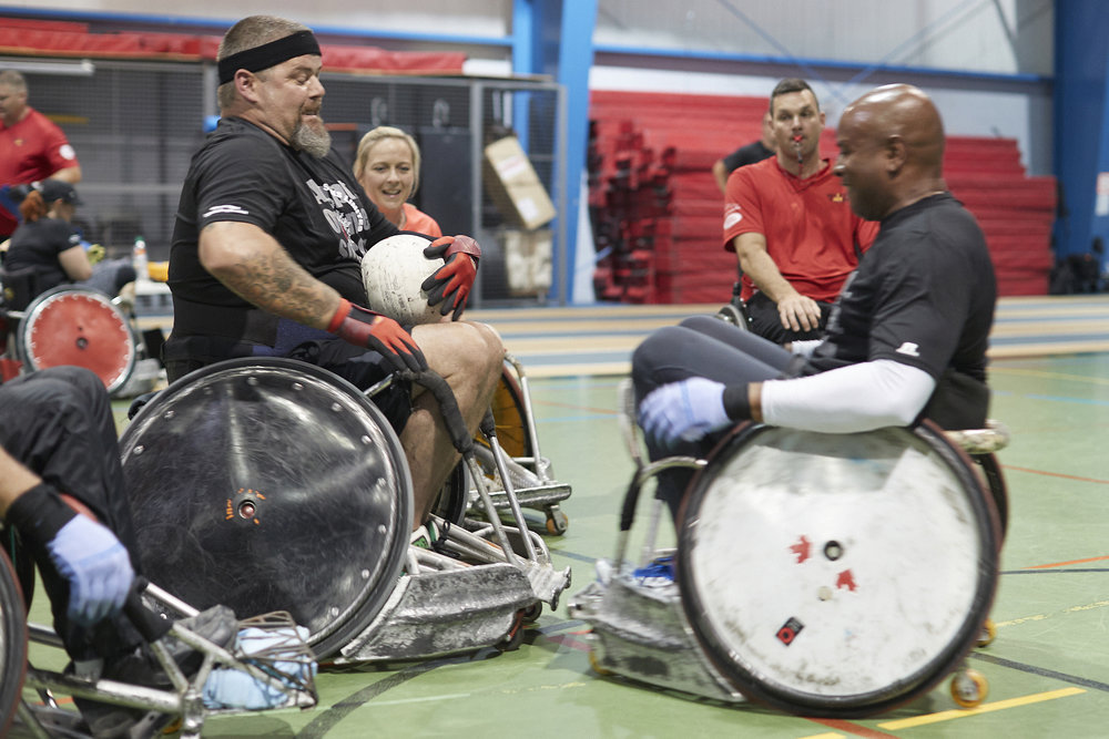 Wheelchair rugby practice during Team Canada Invictus 2017's second training camp, June 2017 in Kingston, Ontario. There's a reason why this sport is also known as murderball. (lyndon goveas, cfmws)