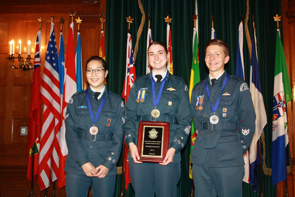 The top three finishers at the 2017 Effective Speaking national competition (from left to right): FCpl Samantha Keow, WO1 Heather Blake, WO2 Cody Lincoln.