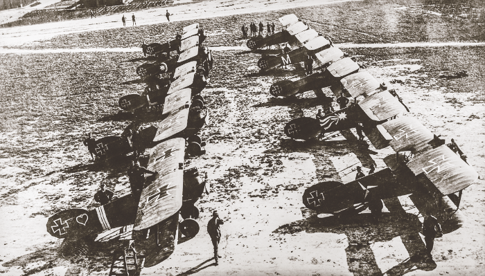 Flik 55/J lineup, July 24, 1918. Although Sandor Kasza had transferred to Flik 15/F earlier in the month, his D.IIa 422.14 in left foreground still bears his three white bands and red heart. István Kirjak's two-banded plane is next in line, followed by the L-marked plane of Franz Lahner (5 victories). The M-marked plane (right row) was flown by the commander, József von Maier (7 victories).