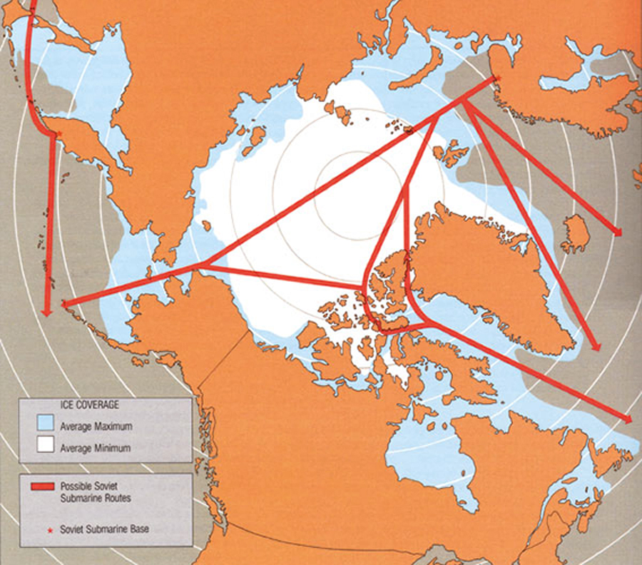 "A diagram from ""Challenge and Commitment: A Defence Policy for Canada."" At the time of the 1987 White Paper, there was a concern that Soviet nuclear submarines could reach both the Atlantic and Pacific Oceans by transiting under the Arctic icecap."