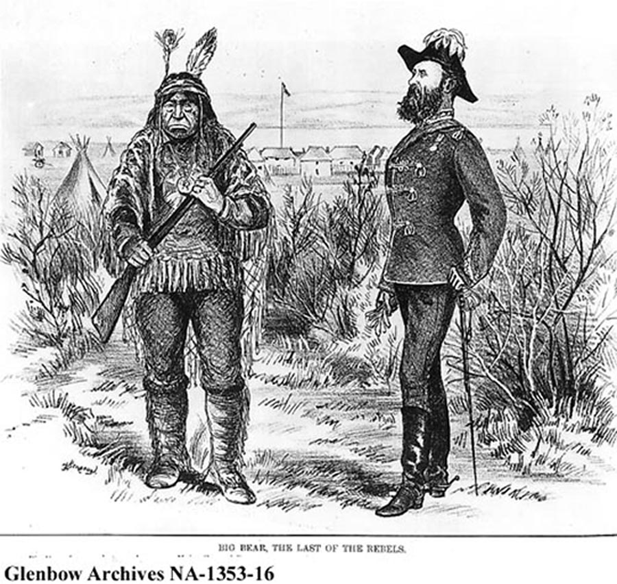 This Canadian journal's depiction of MGen Thomas Bland Strange was based on an 1871 photograph, but its rendition of his nominal Wood Cree opponent, Big Bear (Mistahimaskwa), does not match the photograph later taken of him, nor does his demeanor match descriptions of those who knew him. (glenbow archives na-1383-16)