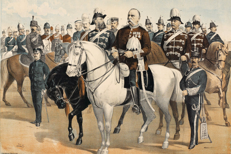 "MGen Frederick Middleton, on white horse, MGen Strange (on the left), Adjutant-General Walker Powell (on the right), and various commanding officers of the North-West Field Force, circa 1885. Born in India and a veteran of the 1857 Indian Mutiny, Strange helped form the Canadian Army's artillery, earning the nickname of ""Gunner Jingo."" In 1885 he was called out of retirement to deal with a different sort of Indian uprising. (painting by william blatchly, library and archives canada, mikan   2953015  )"