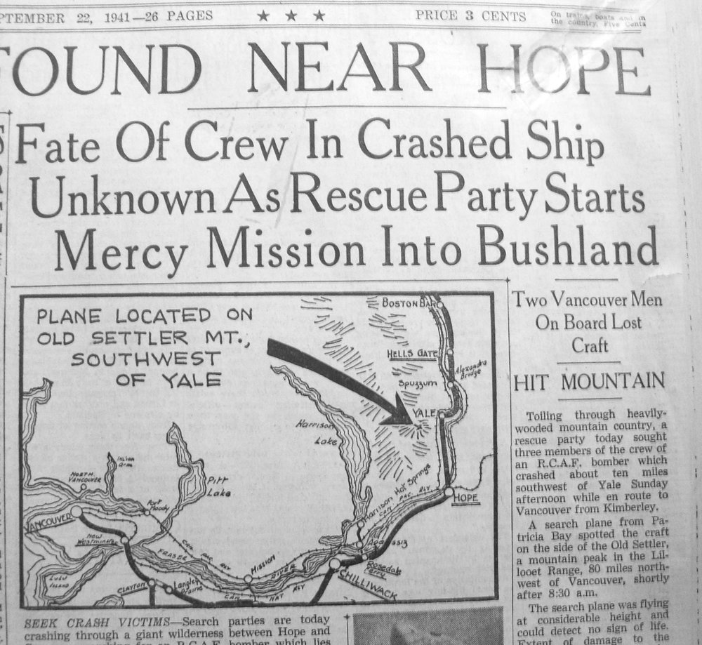"One local newspaper's September 22, 1941 headline (running above this map) read: ""Fate Of Crew In Crashed Ship Unknown As Rescue Party Starts Mercy Mission Into Bushland."""