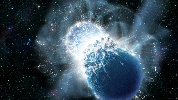 Artist's depiction of a neutron-star collision after inspiral. (Credit: NASA/Swift/Dana Berry)]