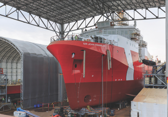 More than 3,300 people attended Seaspan's Vancouver Shipyards' open house in early October, where they got a first glimpse of the  Sir John Franklin , the Canadian Coast Guard's first Offshore Fisheries Science Vessel (OFSV). (heath moffatt, seaspan)
