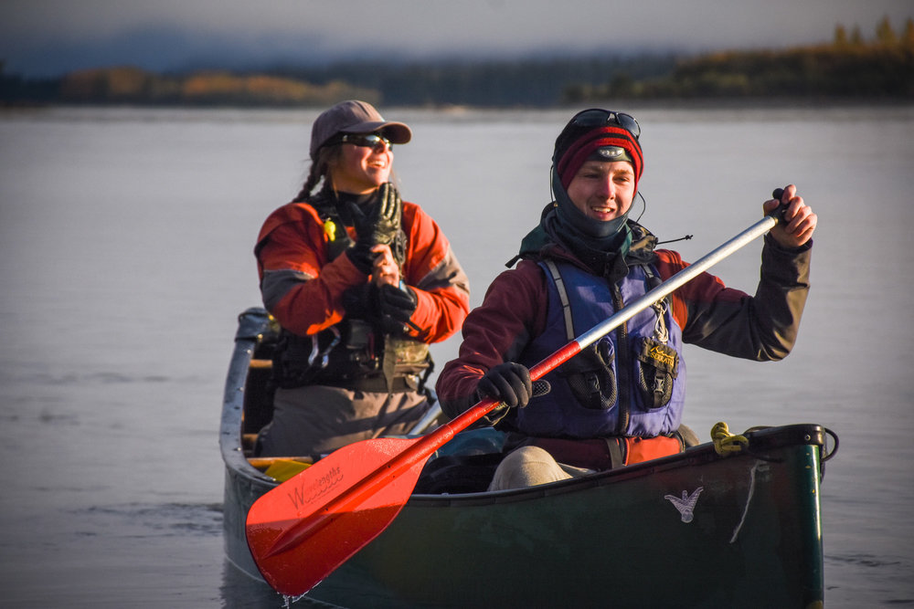 Two army cadets canoe on the Yukon River. Army Cadet expeditions activities provide many exciting opportunities for army cadets to participate in outdoor adventures including canoeing, hiking, orienteering, mountain biking and rock climbing. (capt tim townley)