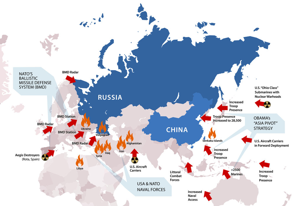 This 2014 infographic shows the advanced placement of NATO's ballistic missile defence (BMD) systems and increased naval and troop presence encircling Russia and China, fundamentally altering strategic balance. (larouchepac.com)
