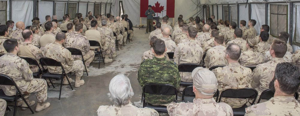 Minister of National Defence Harjit Sajjan addresses the troops during his visit at Camp Érable, Iraq on December 21, 2016. Canada's Special Operations Forces are comprised of highly skilled soldiers and its units kept at very high readiness levels, ready for deployment at a moment's notice for service at home or abroad. (cf combat camera)