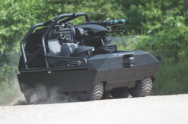 The Multimission UGV – P is Rheinmetall's unmanned ground vehicle solution for force protection and is specifically designed for perimeter protection, escorting, target acquisition, and engagement tasks. The vehicle's modular design consists of three components: a tried-and-tested robotic multipurpose vehicle platform; either a subsystem integrated into this vehicle platform or a system of systems in line with user specifications; and a command post where missions are planned, controlled, analysed and evaluated. It can also be used for amphibious operations. (rheinmetall canada)