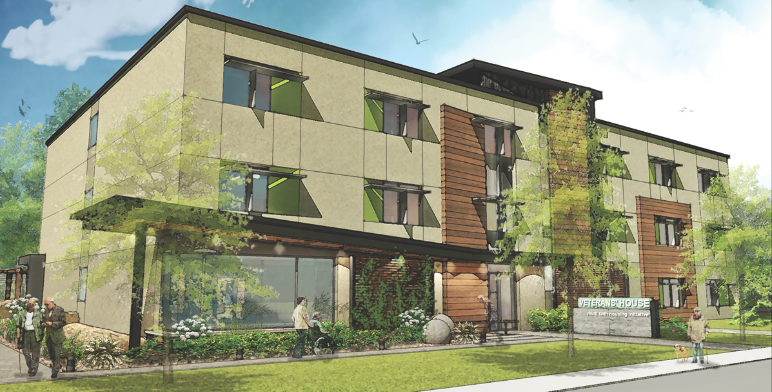 The front view of Veterans House, a 40-unit housing community built on the grounds of the former Rockliffe airbase in eastern Ottawa. (both renderings courtesy of csv architects)