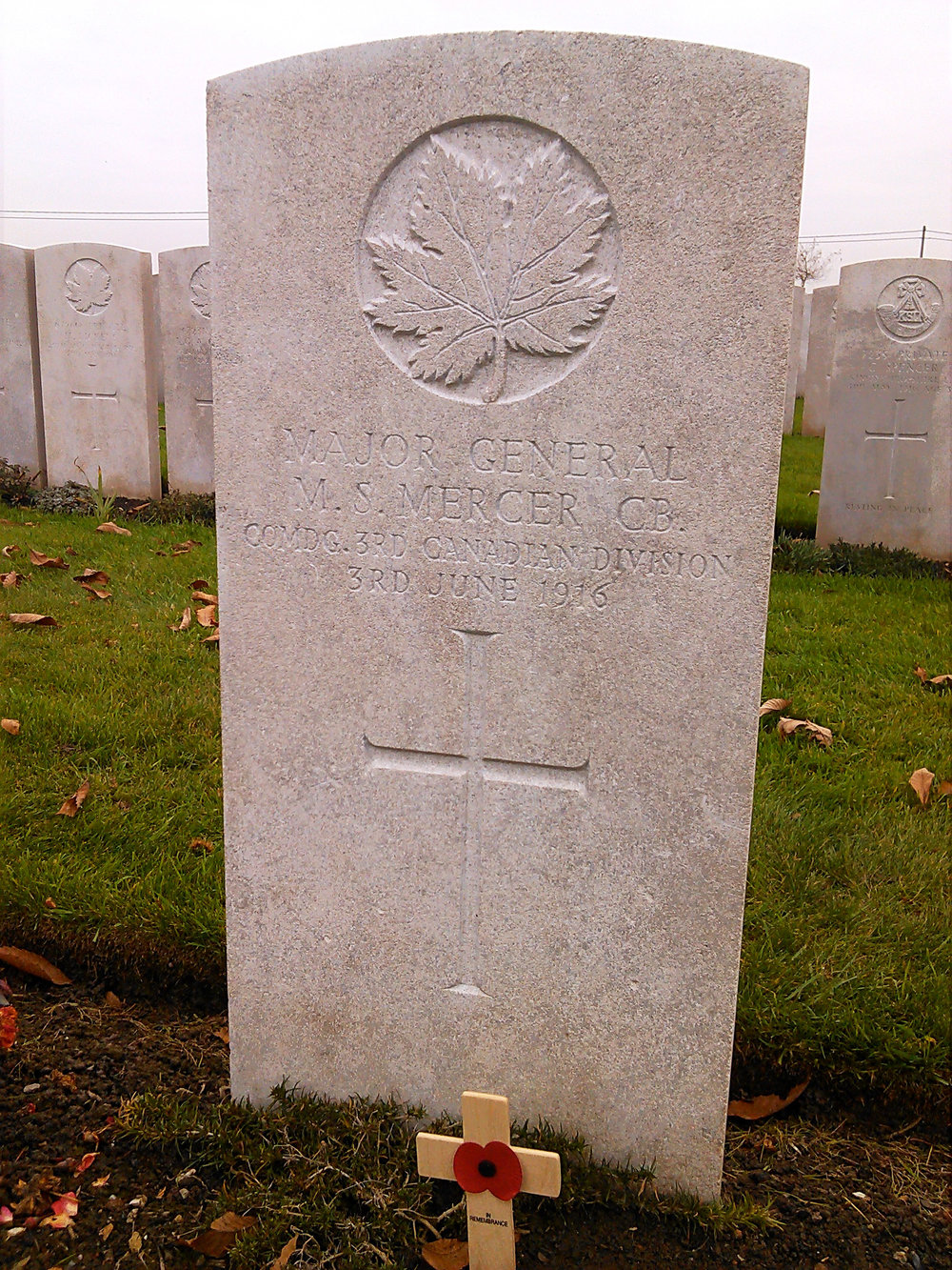 The headstone of Major-General Malcolm Smith Mercer, the highest-ranking Canadian officer killed in action during the First World War, in Lijssenthoek. A farmer who became a lawyer before the war, Mercer enlisted in the Queen's Own Rifles of the Non-Permanent Active Militia in the late 1880s. After the call to arms, Mercer was given command of the 1st Canadian Infantry Brigade of the Canadian Expeditionary Force. On December 4, 1915 Mercer was named General Officer Commanding 3rd Division. At age 59, Mercer was killed on June 3, 1916 during a British artillery bombardment to prevent the Germans from bringing up reinforcements at Mount Sorrel.