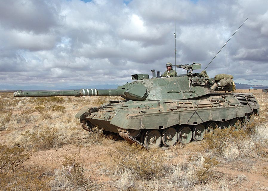 A Canadian Armed Forces Leopard 1 C2 Main Battle Tank pictured at Fort Bliss, Texas during Exercise SOUTHERN BEAR in 2008. The C2, and other vehicles of the Leopard 1 family, including the Leopard 1 Armoured Engineer Vehicles, also known as Badgers, are being retired from service after 40 years. Photo: Sergeant Dennis Power, Army News-Shilo. ©2008 DND/MDN Canada.
