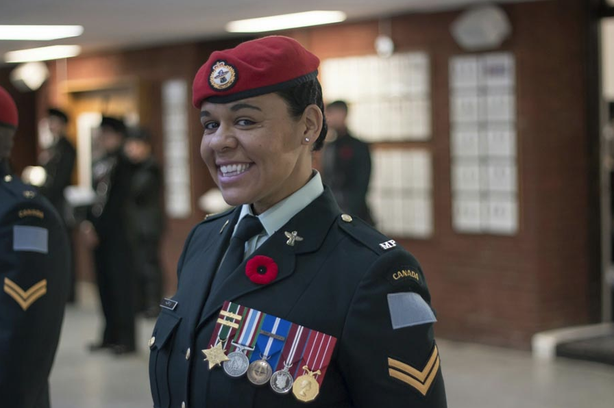 Corporal Peggy Harris of 1 Military Police Regiment in Winnipeg, Manitoba, on Remembrance Day in 2016 at Minto Armouries Winnipeg with 38 Canadian Brigade Group. Her medals, left to right, are: General Campaign Star medal with 2 Bars – Afghanistan tours; Roto 2 Operation ATHENA 2003-2004 ( Kabul); Roto 8 Operation ATHENA (Kandahar) 2009-2010; Canadian Peacekeeping Service Medal – Bosnia VK 2003; NATO – Non-Art 5 (Balkans) Medal 0 2003; Queen Elizabeth II Diamond Jubilee Medal; Canadian Forces' Decoration. Photo: provided by Corporal Peggy Harris.