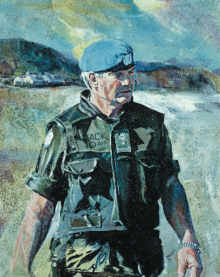 MGen Lewis MacKenzie headed the Sarajevo Sector in Yugoslavia, 1992, at the height of the Bosnian civil war. (illustration by katherine taylor)