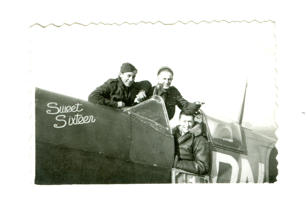 "Now 94, Gordon Hill, in the cockpit of his Spitfire nicknamed ""Sweet Sixteen,"" flew 1,000 hours and 200 sorties during the war. (gordon hill)"