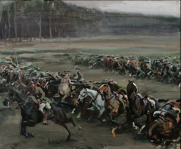 """Charge of Flowerdew's Squadron"" by Sir Alfred Munnings, 1918. Canadian War Museum - 19710261-0443"