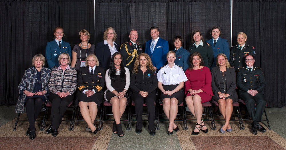 Recipients sit for a group photo with Gen. Jonathan Vance and Esprit de Corps founder Scott Taylor.