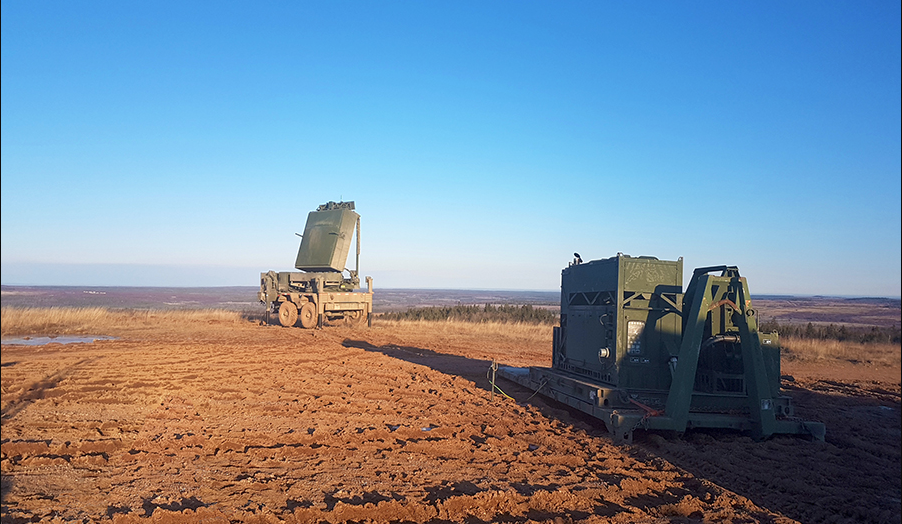 The Medium Range Radar (MRR) system, recently acquired by the Canadian Army, undergoes testing at 5th Canadian Division Support Base Gagetown in the fall of 2017. Photo: Canadian Army Assistant Deputy Minister (Materiel). ©2017 DND/MDN Canada.