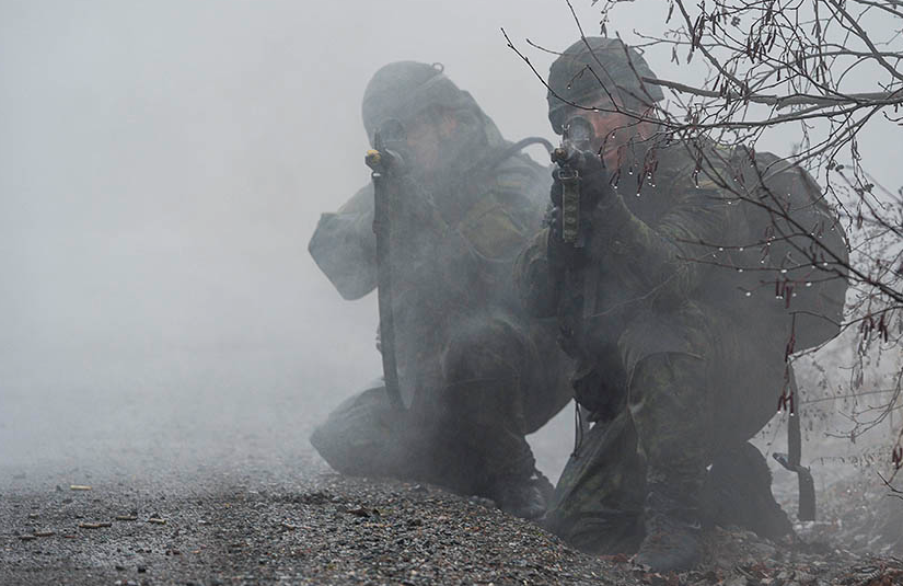 Canadian Army soldiers participate in Exercise COMMON GROUND II 2016 at 5th Canadian Division Support Base Gagetown on November 16, 2016. Units based at Gagetown are always prepared to move on short notice and that high tempo means the support of Army Reservists is invaluable. Photo: Corporal Peter Ford, Tactics School, 5th Canadian Division Support Group Gagetown ©2018 DND/MDN Canada.