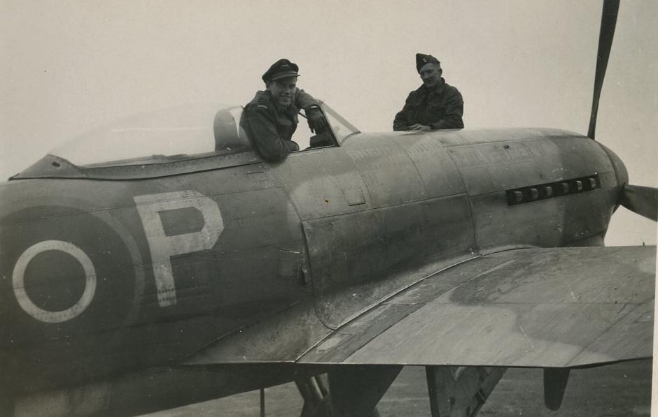 No. 440 Squadron Flight Lieutenant Harry Hardy in the cockpit of his Typhoon P for Pulverizer during the Second World War.