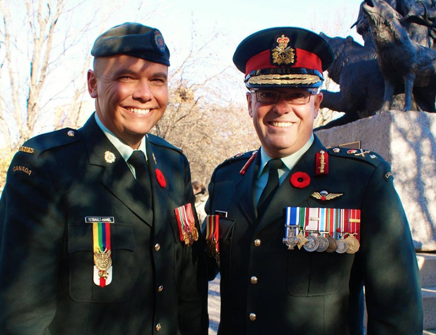 Warrant Officer Moogly Tetrault-Hamel, Indigenous Advisor to the Chaplain General stands with Brigadier-General Jocelyn Paul at the National Indigenous Veterans Monument in Ottawa, Ontario on Remembrance Day, November 11, 2017. Photo: ©2017 DND/MDN Canada.