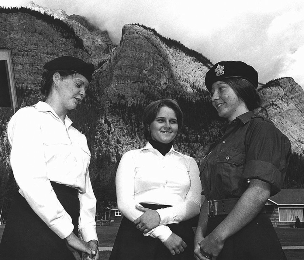 Created in 1879 as an organization for young males to learn drill and marksmanship, the Royal Canadian Army Cadets opened its doors to girls in 1975. These three young women were among the first to join and take part in the inaugural coed summer training program in Banff, Alberta.