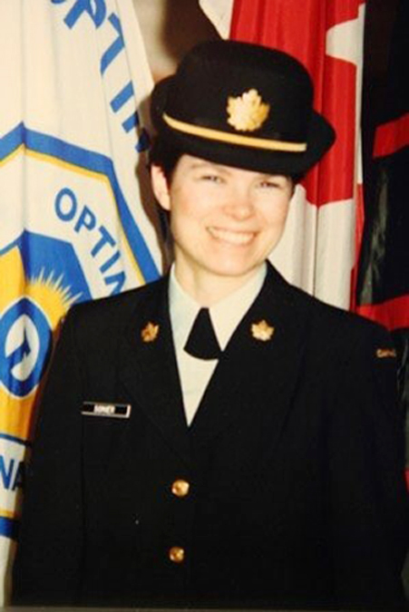 Gisele Sonier, who joined cadets in 1979, became a CIC officer upon graduating from the Army Cadets. While being a role model for other young boys and girls in cadets, Sonier pursued a career in education.