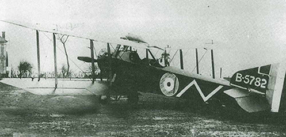 "Armstrong-Whitworth F.K.8 B5782 of No. 2 Squadron was being flown by McLeod and Lieutenant J.O. Comber on December 19, 1917, when they were attacked by six German fighters and McLeod reported ""1 spun away,"" possibly inflicting an actual loss on  Jagdstaffel  20. The zigzag squadron marking was removed by March 27, 1918, when McLeod fought his most famous action. (department of national defence)"