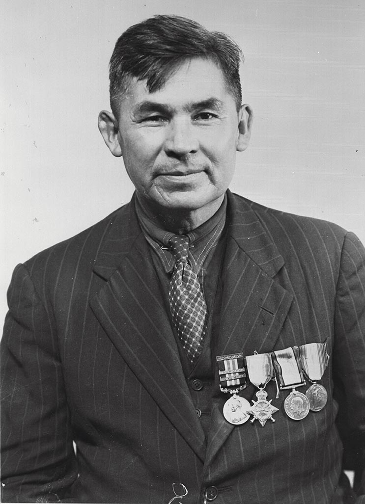 Company Sergeant-Major Francis Pegahmagabow, shown wearing his military medals, was one of only 38 Canadians to receive the Military Medal with two bars – each in recognition of an act of bravery. Photo: Provided by Chamberfest.