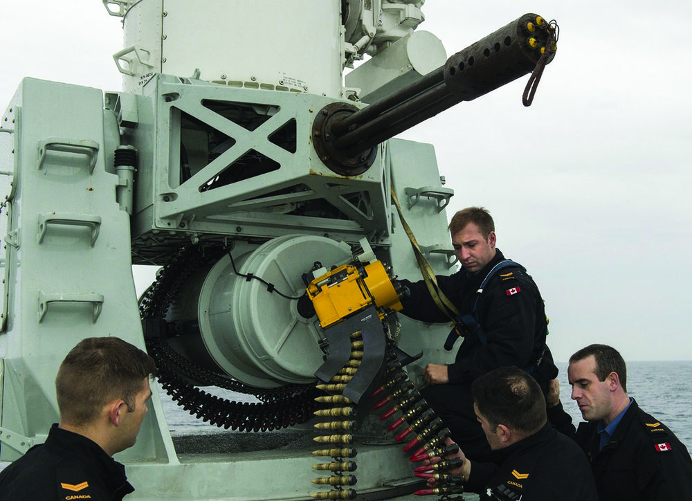 Raytheon Canada Limited is overhauling and providing in-service support for the Phalanx Close-In Weapon Systems operated by the Royal Canadian Navy. Raytheon has promoted its Phalanx system and its capabilities over the years at CANSEC. (DND photo)