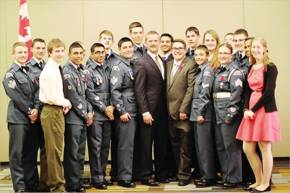 Chris Hadfield meeting the 2013 Air Cadet Advisory Board from Ontario.