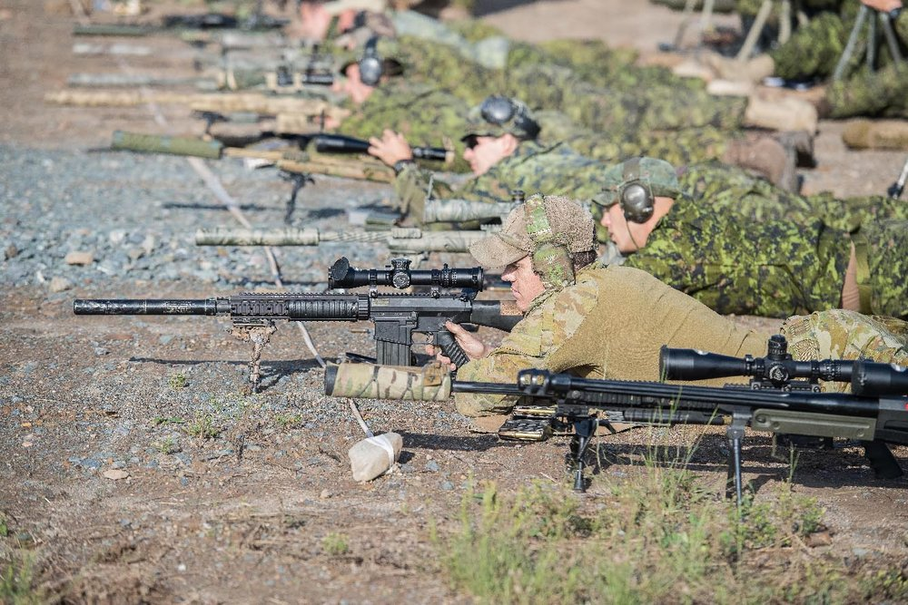 Snipers from the Canadian Armed Forces, international militaries and civilian law enforcement agencies participate in the September 2017 Canadian International Sniper Concentration at 5th Canadian Division Support Base Gagetown. Photo: Corporal Geneviève Lapointe, Tactics School, Combat Training Centre, 5th Canadian Division Support Base Gagetown. ©2018 DND/MDN Canada.