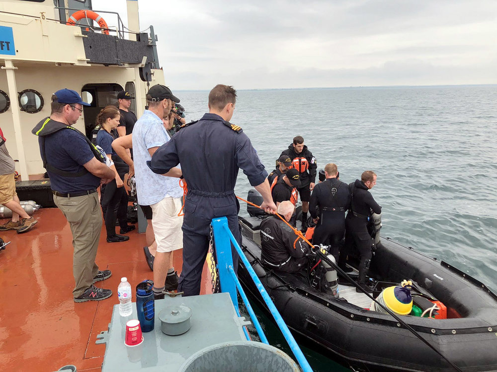 A team of divers from Fleet Diving Unit (Atlantic) assist OEX Recovery Group on its Raise the Arrow project.