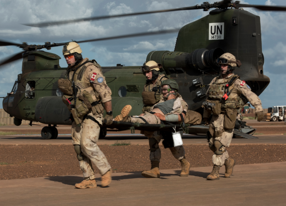Canadian, Dutch and German forces exercise the aeromedical evacuation role at Camp Castor in Gao, Mali Operation PRESENCE - Mali on September 1, 2018.