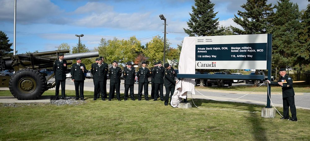 On September 29, 2018, a ceremony was held to recognize the official renaming of the Kenora Armoury in Kenora, Ontario after the late Private David Kejick. Photo: Officer Cadet Natasha Tersigni, 38 Combat Brigade Group. ©2018 DND/MDN Canada.