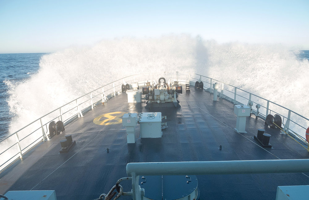 HMCS Nanaimo, with life lines rigged, encounters a strong sea state during transit on December 13, 2018 during OPERATION CARIBBE.