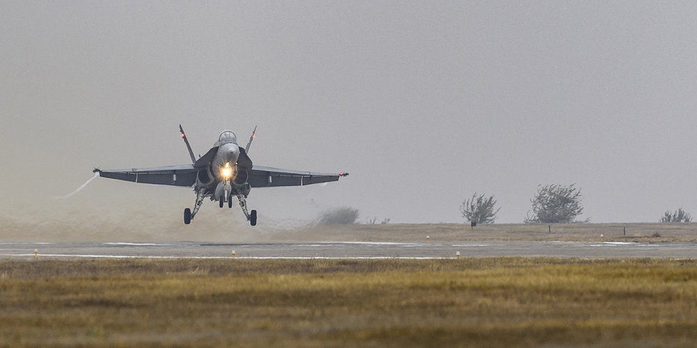 A CF-188 Hornet aircraft takes off from Mihail Kogalniceanu Air Base in Romania on October 24, 2018, during Operation REASSURANCE. PHOTO: Corporal Dominic Duchesne-Beaulieu, RP20-2018-0041-00