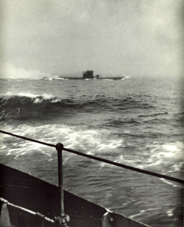 U-210 as seen from HMCS Assiniboine at the beginning of the battle.