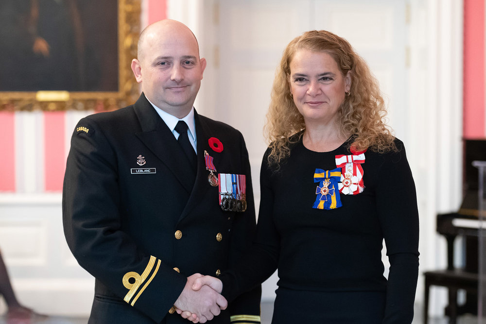 Sub-Lieutenant David LeBlanc received the Medal of Bravery on November 5th, 2018 at Rideau Hall in Ottawa.