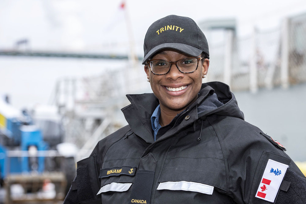 Ordinary Seaman Tiana Benjamin, Information Exploitation Operator at Trinity on 7 February, 2019.